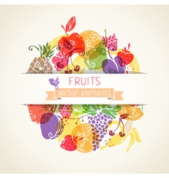 Fruits and berries in the circle on paper vector