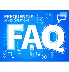 Bright faq on blue background for banner we vector