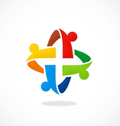 Circular people teamwork group abstract logo vector
