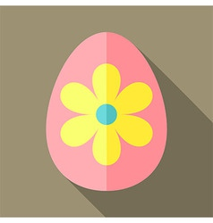 Easter egg with big flower vector