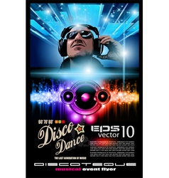 Disco music flyer vector