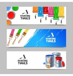 Painting tools banners set vector