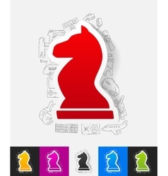 Chess paper sticker with hand drawn elements vector