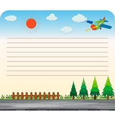Line paper design with park and road vector image