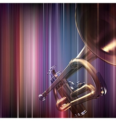 Abstract blue music background with trumpet vector