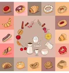 Template with different kinds of pastry sweet vector