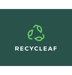 Recycle leaf logo vector
