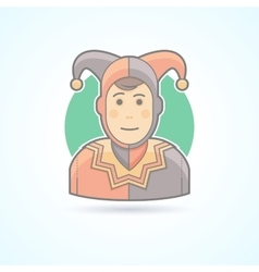 Court jester harlequin fool clown icon vector