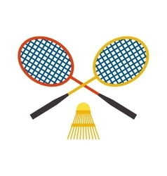 Two badminton racket and shuttlecock sport game vector