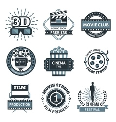 Cinema label set vector