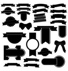 banner black icon set on white background vector image