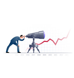 Businessman with telescope explorating the future vector