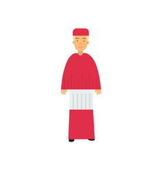catholic cardinal in red robe character religion vector image