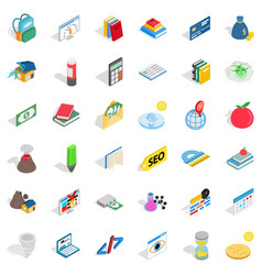 Chemistry lab icons set isometric style vector