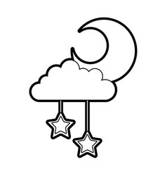 Cloud sky with mon and stars vector