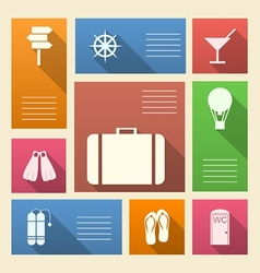Colored icons for vacation with place for text vector image vector image