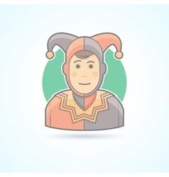 Court jester harlequin fool clown icon vector