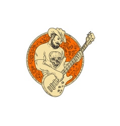 Cowboy playing bass guitar circle drawing vector