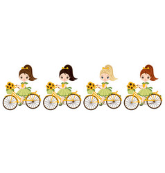 Cute little girls riding bicycles vector