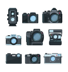 dslr photo cameras set in cartoon style vector image