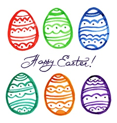 Easter watercolor eggs vector