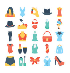 Fashion and clothes colored icons 7 vector