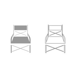 Folding chair grey set icon vector