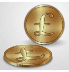 gold coins with GBP pound currency sign vector image