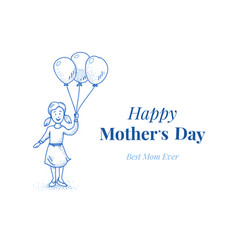 happy mothers day daughter with balloons small vector image vector image