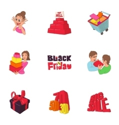Hot price icons set cartoon style vector