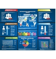 INFOGRAPHIC DEMOGRAPHIC MODERN STYLE BLUE vector image vector image