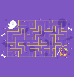 kids halloween game childrens maze vector image vector image
