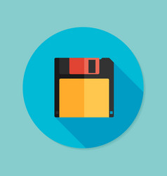 Magnetic floppy disc flat icon with long shadow vector