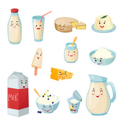 Milk products with smiles cartoon set vector