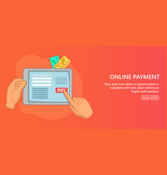 Online payment banner horizontal cartoon style vector