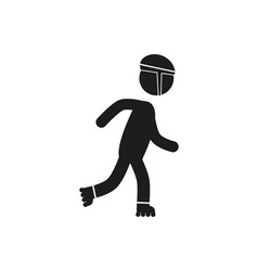 Roller skating icon stick figure vector