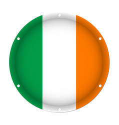 Round metallic flag of ireland with screw holes vector