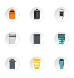 Rubbish bin icons set flat style vector