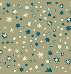 Seamless texture with stylized flowers and stars vector
