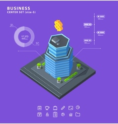Set business isometric building icons diagrams vector image vector image