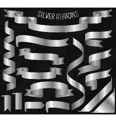 Set of silver ribbons on carbon background vector