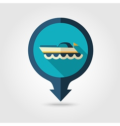 Ship boat pin map flat icon summer vacation vector