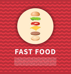 the ingredients of the burger on red poster cute vector image vector image