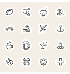 Travel and vacation line icons set vector image