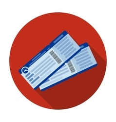 Two airline tickets icon in flat style isolated on vector image