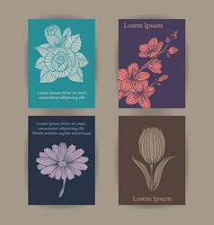 Vintage floral cards set vector