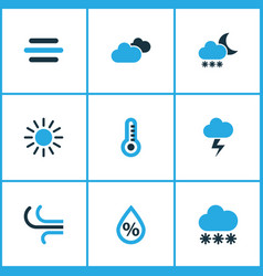 Weather colored icons set collection of vector