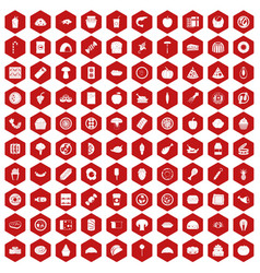 100 meal icons hexagon red vector image vector image