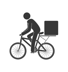 Courier bike box icon vector