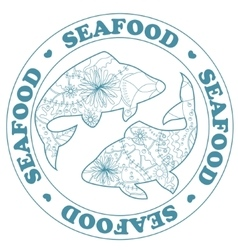 Seafood stamp with fish vector image